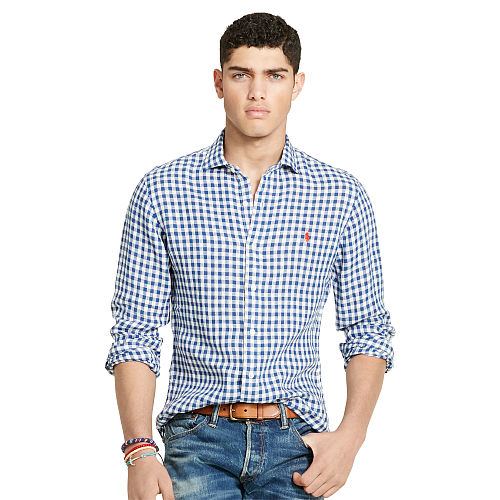 Slim Fit Gingham Linen Shirt 89234906