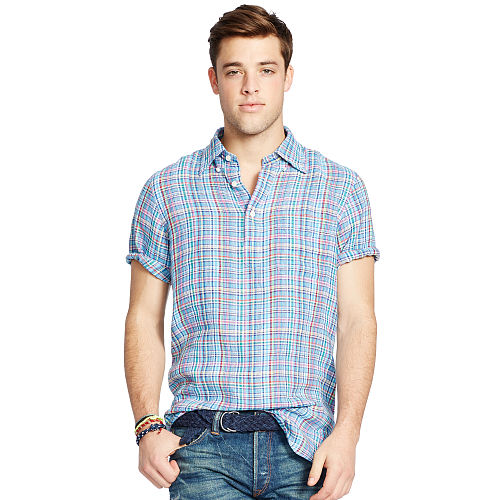 Plaid Linen Short Sleeve Shirt 93751906