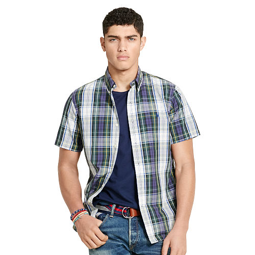 Slim Fit Plaid Poplin Shirt 90764396