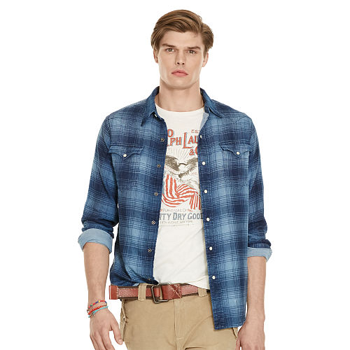 Indigo Plaid Western Shirt 89234786