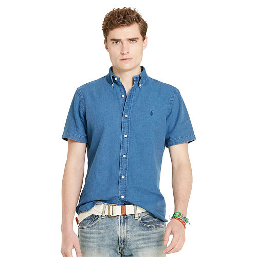 Indigo Cotton Oxford Shirt 90764376