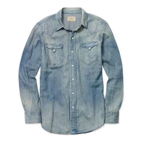 Distressed Denim Western Shirt 77026556