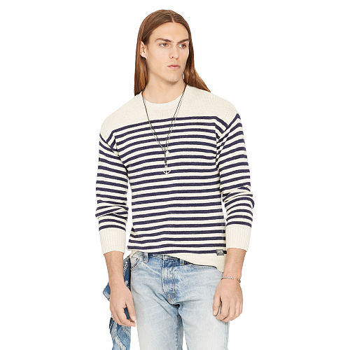 Striped Cotton Linen Sweater 92844466