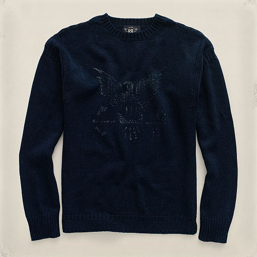 Indigo Cotton Crewneck Sweater 90496856