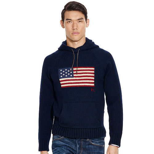 Flag Wool Hooded Sweater 71534456