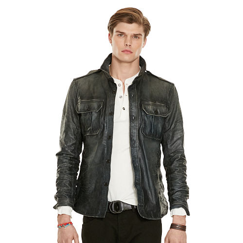 Leather Shirt Jacket 89070636