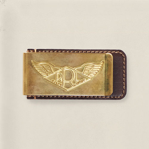 Brass and Leather Money Clip 82569156