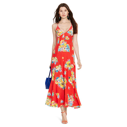 Floral Print Silk Maxidress 90496486