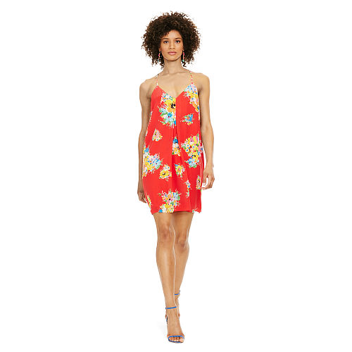 Floral Silk Racerback Dress 90496526