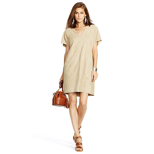 Suede V Neck Shift Dress 89235396