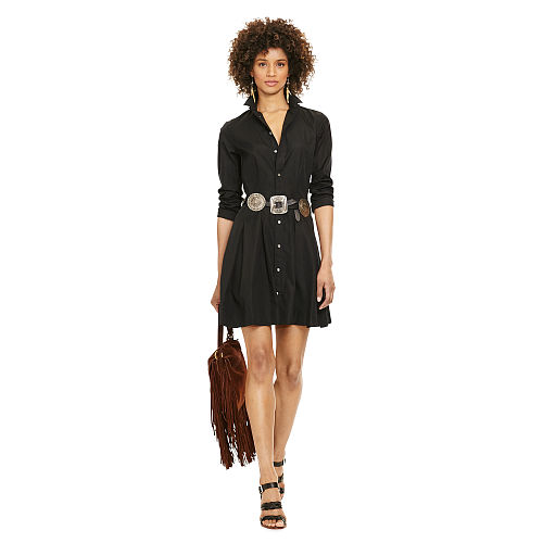Pleated Poplin Shirtdress 91836966