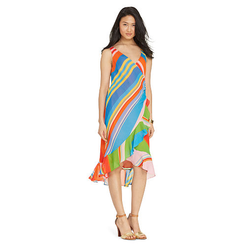 Striped Georgette Wrap Dress 93346106