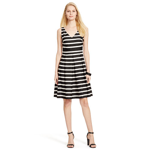 Striped Fit And Flare Dress 91762146