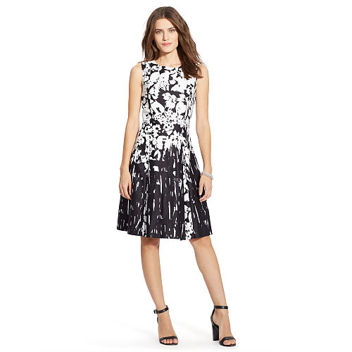 Floral Pleated Sateen Dress 91762086