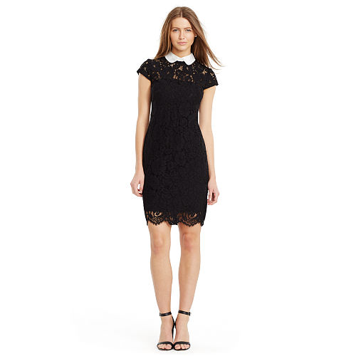 Contrast Collar Lace Dress 91762756