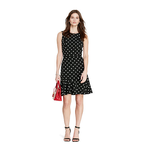 Polka Dot Crepe Dress 94391176