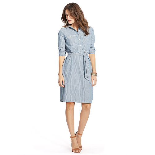Striped Cotton Shirtdress 91762226