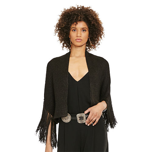 Fringed Open Front Cardigan 91836876