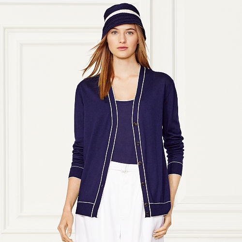 Two Toned Cashmere Cardigan 86170076