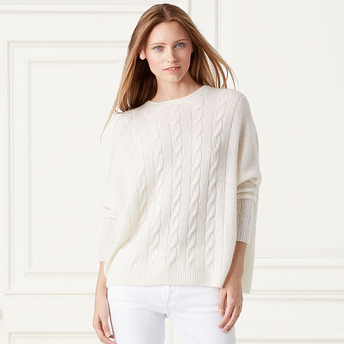 Cabled Cashmere Dolman Sweater 79164356