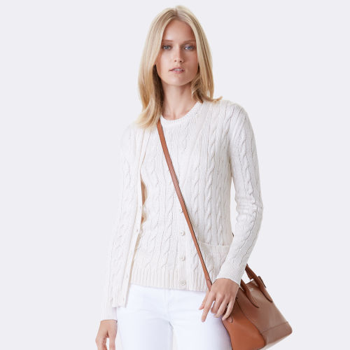 Cable Knit Silk Cardigan 79459866