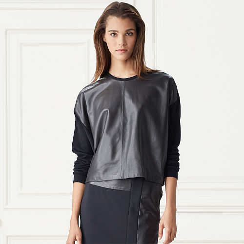 Leather Front Cashmere Sweater 79164496