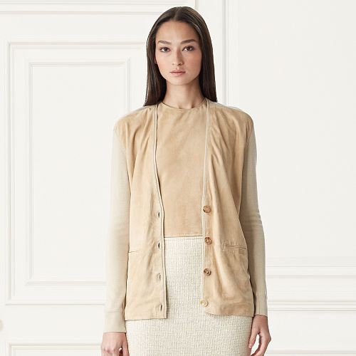 Suede Front Cashmere Cardigan 79164036