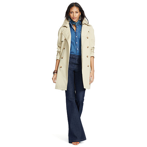 Cotton Blend Twill Trench Coat 87040546