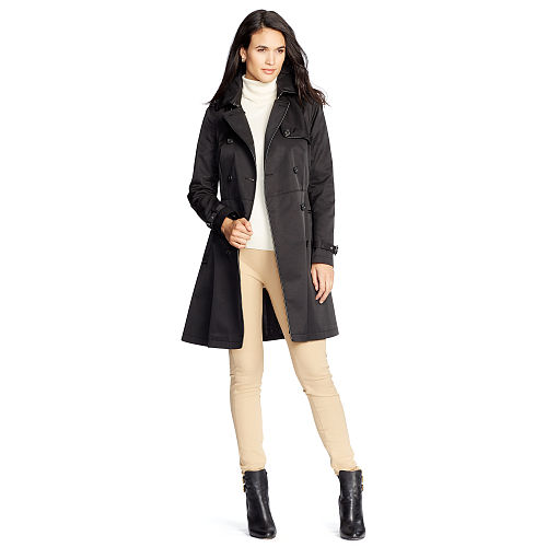 Contrast Trim Trench Coat 86560396