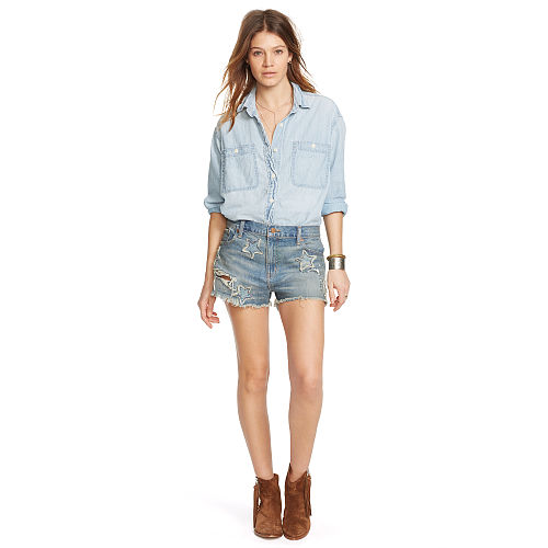 Star Patch Jean Short 93459726