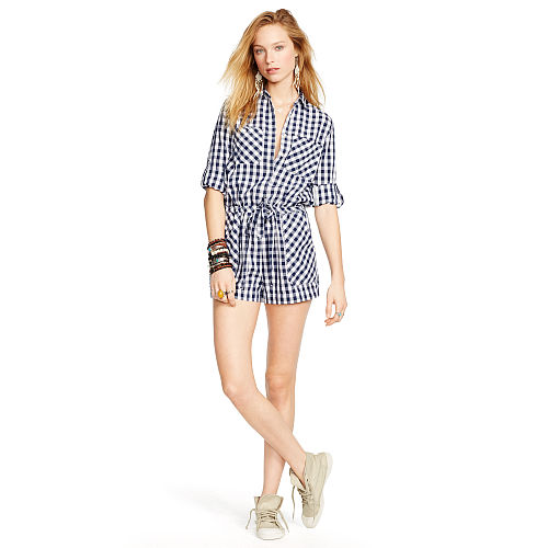 Gingham Plaid Cotton Romper 93459786