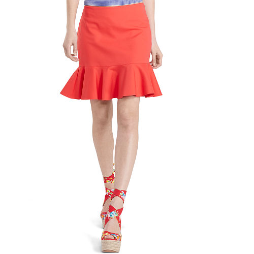 Ruffled Stretch Cotton Skirt 90496316