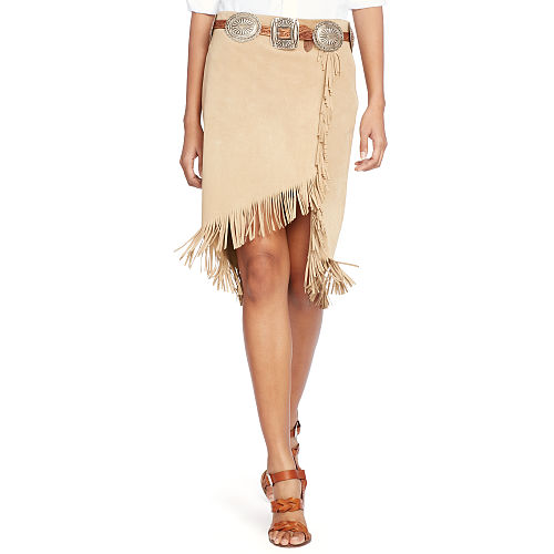 Fringed Suede Wrap Skirt 89235366