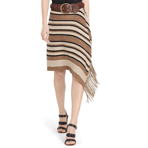 Fringe Trimmed Knit Wrap Skirt 91837066