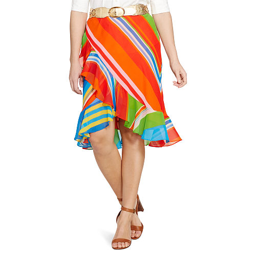 Striped Ruffle Georgette Skirt 93348626