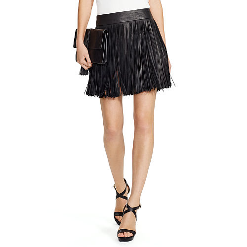 Fringed Leather Miniskirt 87040456