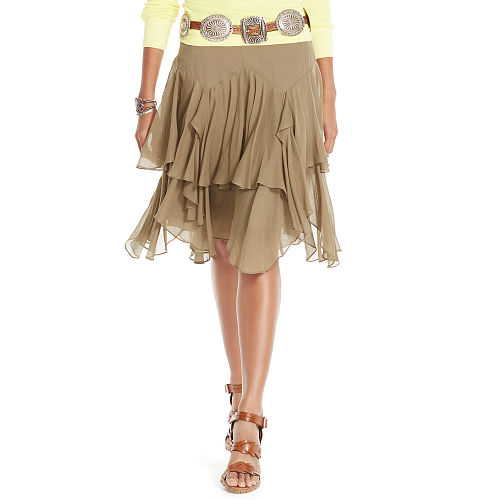 Tiered Silk Blend Gauze Skirt 89235376
