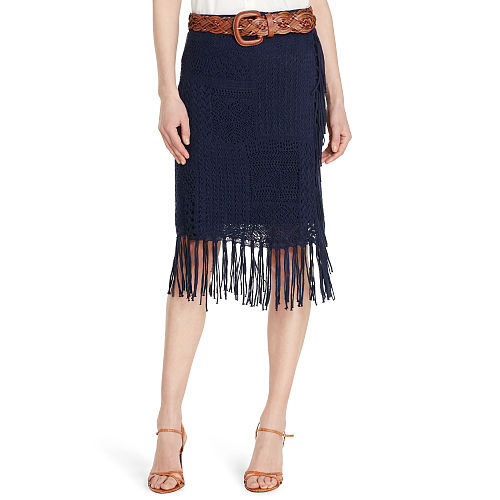 Fringed Cotton Linen Skirt 91016716