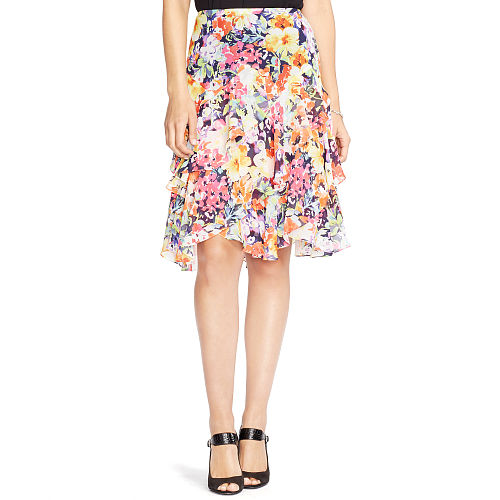 Floral Print Ruffled Skirt 91016326