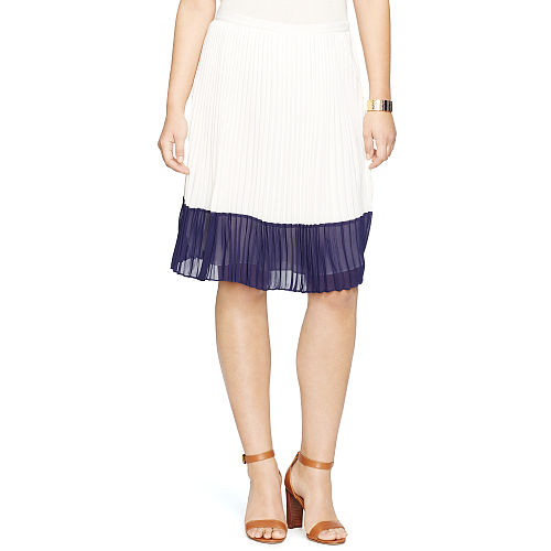 Color Blocked Pleated Skirt 91016536