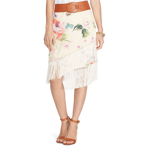 Fringed Floral Crepe Skirt 88463326