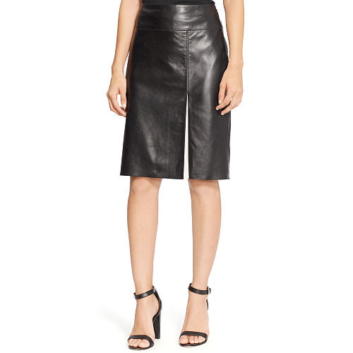 Leather Front Slit Skirt 85888356
