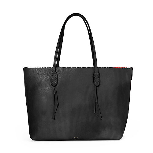 Scalloped Edge Leather Tote 88534086