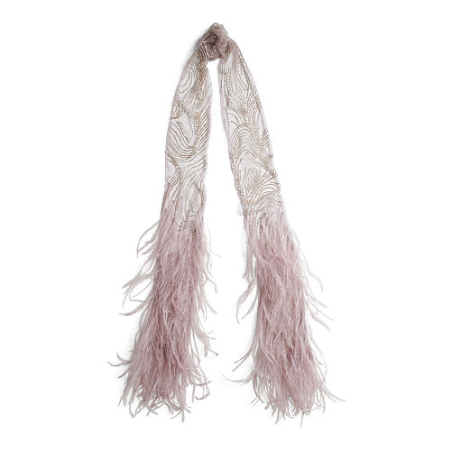 Beaded Tulle Feather Scarf 94760896