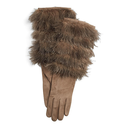 Feathered Suede Gloves 94760946